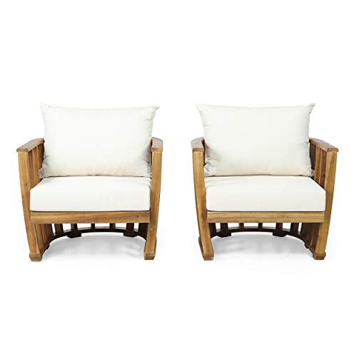 Rapae Outdoor Acacia Wood Club Chairs with Cushions (Set 2), Teak and Cream