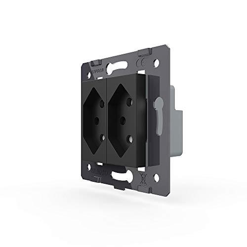 Livolo binnenleven stopcontact Zwitserland CH VL-C7C2CH-12 zwart