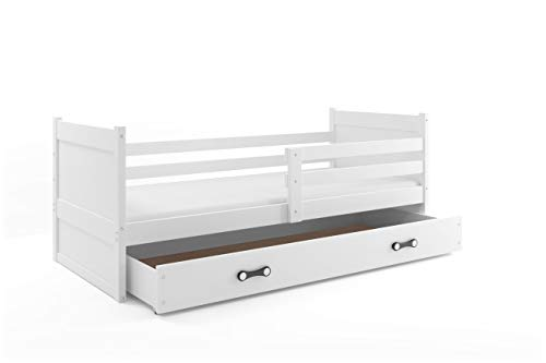 Interbeds Lit Enfant Rico 190x90 avec Matelas sommier et tiroir (Blanc+Blanc)