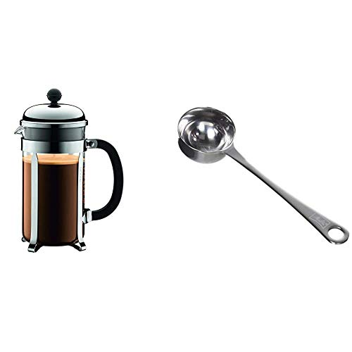BODUM Chambord 8 Cup French Press Coffee Maker, Chrome, 1.0 l, 34 oz & Melitta Measuring Spoon for Ground Coffee, Stainless Steel, Capacity 8g