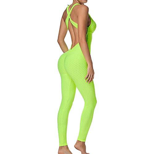 Mimoka Monos Pantalones Deportivos Mujer Elástico y Transpirable | Leggins Mujer Fitness Push up con Tirantes para Yoga GYM Running (M, Amarillo)