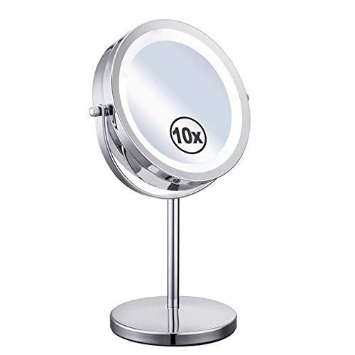 Spiegels Vergrootglas Make-up Vanity Spiegel LtHvoa Badkamer Spiegels Vergrootspiegel Met Lichten, Verlichte Make-up Spiegel 10X Vergroting 7 Inch, Vanity Spiegel Met Lichten, Dubbelzijdige 360 Rotatie Po