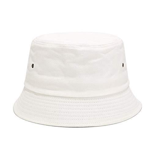 JZDH Sombrero De Pescador para Mujer Sombrero De Pescador De Color Liso Blanco Simple Sombrero De Sol Salvaje De Verano Sombrero De Litera Pequeño Literario Sombrero De Verano para Mujer