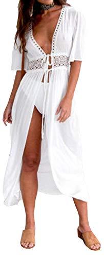 Carolilly Cache Maillot Femme Robe de Plage Longue Ajourée Manches 1/2 Blouse Bikini en Dentelle Blanche Noire Bleue, Blanc, 2XL/42