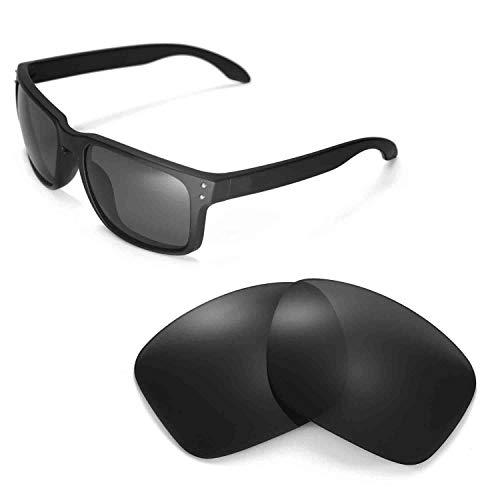 Walleva Ersatzgläser für Oakley Holbrook Sonnenbrille - Mehrfache Optionen (Schwarz - polarisiert)
