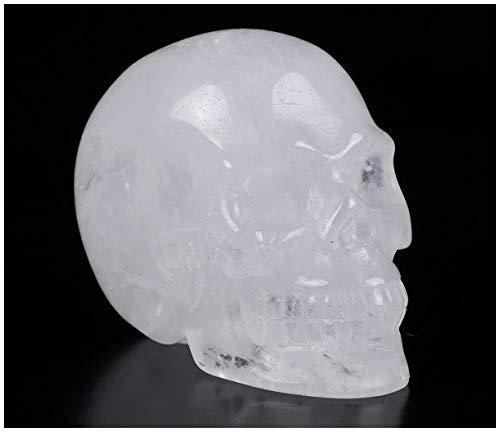 Skullis 2.0' Quartz Rock Crystal Carved Crystal Skull. Hand Carved Gemstone Fine Art Sculpture.