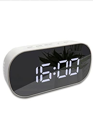 Reloj de Alarma electrónico, luz de Noche LED LED Dimmable Recargable Portátil Reloj Despertador USB. para Dormitorio aprendiendo niños (Color : Black Oval)