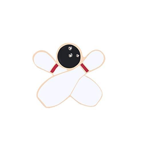 Lustiges Spiel Emaille Pins Poker Würfel Skateboard Abzeichen Brosche Denim Jeans Metall Anstecknadel Cartoon Schmuck Geschenk für Frauen Männer Freunde-Bowling