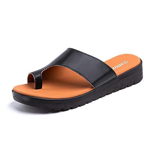 Sandalias Mujer Cómodos Plataforma Chanclas Cuña de Playa Flip Flop Faux Cuero Verano 3.5 CM Negro Talla A EU 40