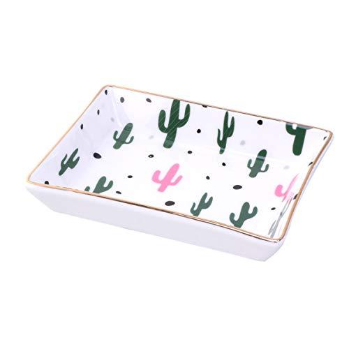 TOPBATHY 1 Stück Keramik Schmuck Platte Ring Gericht Dekorative Kaktus Muster Veranstalter Halter Teller Tablett Für Ohrring Halskette Armband (Größe S)