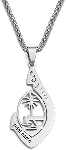 YZXYZH Collar Nombre Personalizado/Collares Colgantes Hawaianos De Guam Personalizar Letras Impresas Micronesia Flor Joyería Regalos 24 Pulgadas