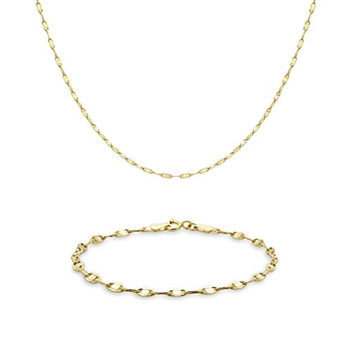 Carissima Gold 9ct Geel Goud Ovaal Link Ketting Ketting en Armband Set (46cm/18