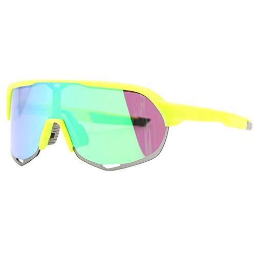 niyin204 Sportbrille für Männer und Frauen, Sportbrille mit Strumpfhosen und verspiegelten Gläsern, Sonnenbrille für Radfahren, Laufen, Volleyball und Wandern. Fluoreszierendes Grün