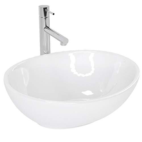 Design Keramik Oval Waschtisch Handwaschbecken Aufsatz-Waschschale 40,5cm x 33,5cm x 14,5cm FÜR BADEZIMMER GÄSTE WC Sofia