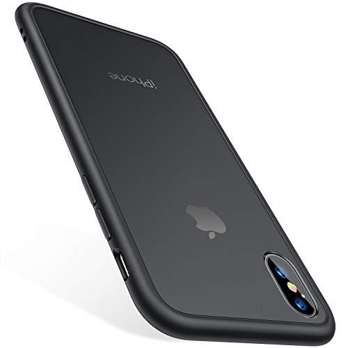 TORRAS iPhone XS Hülle/iPhone X Hülle [Schutz nach Militärstandard] Stoßfest Kratzfest iPhone X/XS Case Schutzhülle Durchscheinend Hard PC Back & Silicon Bumper Handyhülle iPhone X/XS - Mattschwarz
