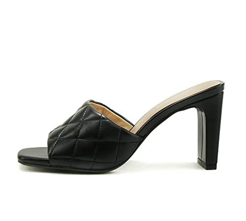 SODA JITTER ~ Women Slip On Flat Heel Squared Toe Diamond Quilted Fashion Sandal (Black, numeric_8)