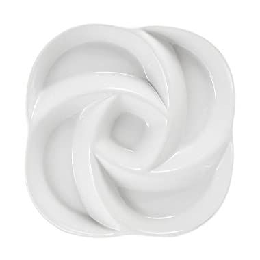 Everyday White by Fitz and Floyd Swirl Chip and Dip 5 Section Server. 12 L x 12 W x 2.625 H by Everyday White
