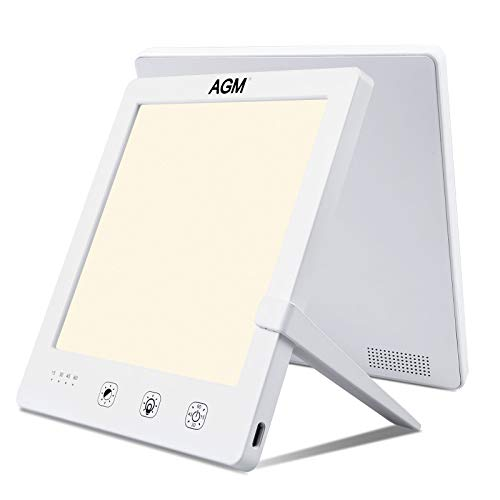 AGM Light Therapy Lamp, Touch Control 10000 Lux Sad Light with 3 Color Modes, 4 Timer Settings & 5 Brightness Levels, Natural Sunlight Lamp