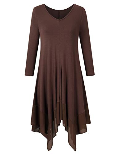 AMZ PLUS Womens Plus Size Irregular Hem Long Sleeve Loose Shirt Dress Top Coffee5XL