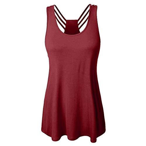 Momoxi Weisefrauen-Weste O-Ausschnitt Reine Farben-Bluse Sleeveless Backless lose Oberseiten,Tank trägertop,Sommer 2020 Damen Shirt Bluse ärmelloses Rot S