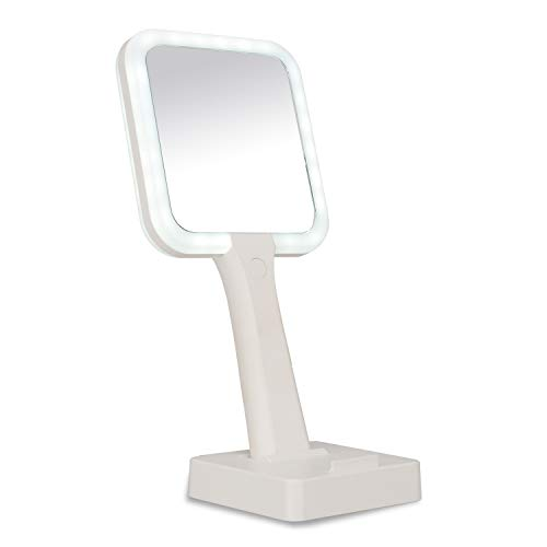 Hand led Mirrors,LED Vanity Mirror, Makeup Mirror, 3Color Lighting Modes 44 LED Double-Sided 1X/5X, Handheld and Fixed Design,High-Definition Makeup Lighting Mirror, Gift for Girls (White)