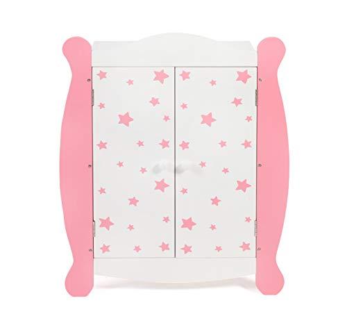 Bayer Chic 2000 - 519 88 - Puppen-Kleiderschrank mit Kleiderstange und Kleiderbügel, Puppenschrank, Puppenmöbel, Stars pink