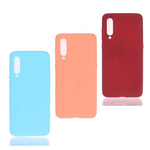HopMore 3 Pack pour Coque Xiaomi Mi A3 Lite / CC9 Silicone Souple Étui Motif Couleur Etui Xiaomi A3 Lite Mince Antichoc TPU Case Housse Fine pour Femmes Fille Hommes - Rose Bleu Vin Rouge