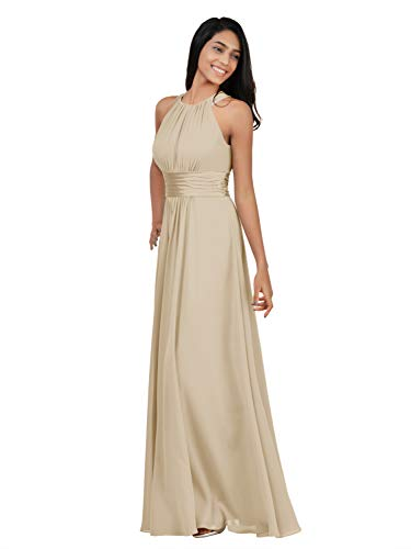 Alicepub Halter Chiffon Bridesmaid Dresses Long Formal Dress for Women Party Evening Party Prom Occasion, Champagne, US12