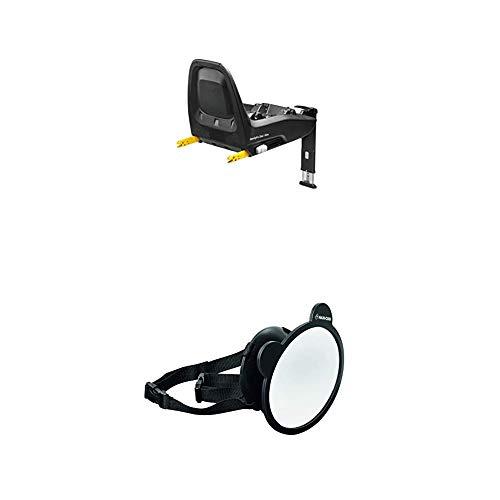 Maxi-Cosi FamilyFix One i-Size Isofix Basisstation, Gruppe 0 Plus/1 (0-18 kg), schwarz + Großer Baby Rückspiegel für alle Autos, Autospiegel, Sicherheitsspiegel, Rücksitzspiegel