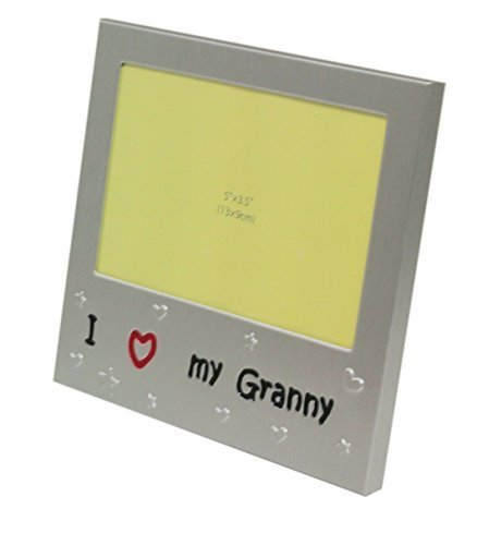 I Love My Granny - Photo Picture Frame Gift - Will take a photo of 5 x 3.5 Inches (13 x 9 cm) - Brushed Aluminium Satin Silver Color. by NG