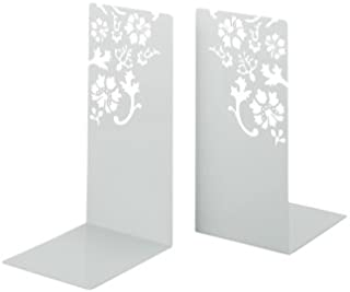 Bookends Kirie - Pair of White Metal with Flower Cutout Pattern, 10