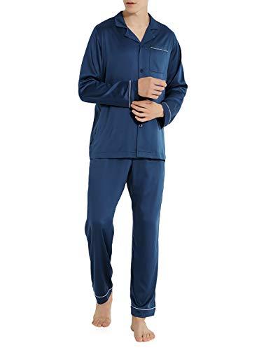 DAVID ARCHY Men's Satin Silky Sleepwear Pajamas Set Button-Down Long Loungewear (L, Navy Blue)