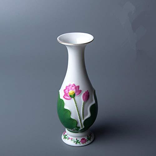 N / A Suministros budistas Receptáculo de Flores de cerámica Accesorios para el hogar Botella de Flor de Loto en Relieve Templo Budista Taza de Agua sacrificada-como Imagen