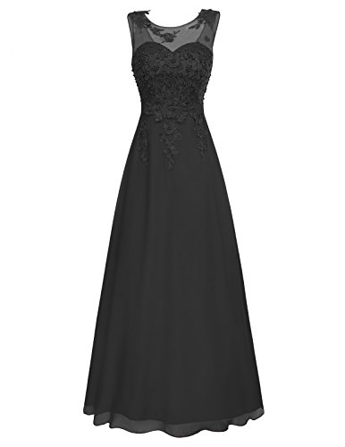 Festkleider für Damen Hochzeit bodenlange Kleider elegant perlen Kleid a Linie Kleid Abendkleid 46 CL670-1