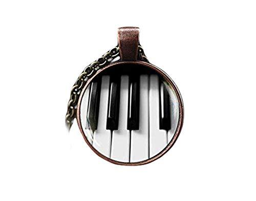 Heng Yuan Tian Cheng Piano Halskette, klassische Musik Geschenk, Musik, Klavier Tastatur Anhänger Schwarz und Weiß Halskette,