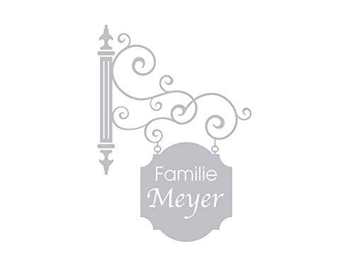 GRAZDesign Fenstertattoo Flur Schild personalisiert mit Namen Familie, Fensterfolie, Glastattoo Eingang Tür, Fensteraufkleber / 80x57cm