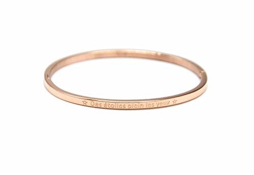 Oh My Shop–bc2571F–Bracciale rigido fine acciaio oro rosa con messaggio delle stelle pieno gli occhi