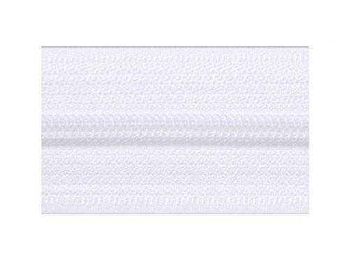 Kacperek 25m EndLos Reißverschluss 4mm Laufschiene (weiß) + 25 Zipper
