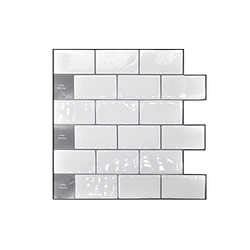 30.5 cm x 30.5 cm PET Peel Stick Azulejos de pared, 3D impermeable adhesivo Backsplash Azulejos de Pascua Decoración Azulejos para la casa, decoración del baño (blanco)