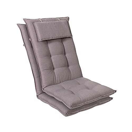 Homeoutfit24 Sylt - Cojín Acolchado para sillas de jardín, Hecho en Europa, Respaldo Alto con cojín de Cabeza extraíble, Resistente Rayos UV, Poliéster, 120 x 50 x 9 cm, 2 Unidades, Gris/Gris