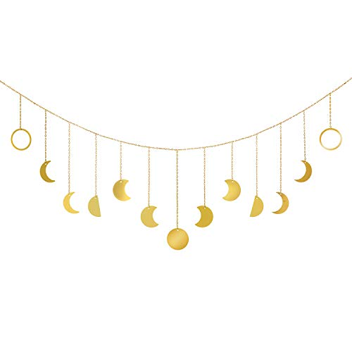 Mkono Moon Phase Wall Hanging Moon Garland Decor Boho Home Decoration Shining Moon Hang Art Ornaments for Bedroom Headboard Living Room Dorm Nursery Apartment Office, Gold, 55'