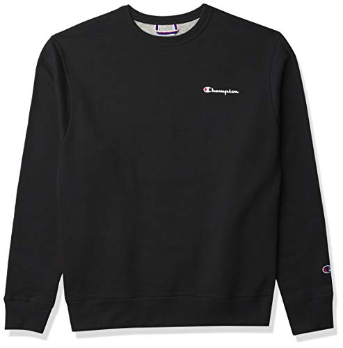 Champion Men's Powerblend Graphic Crew, Black - Left Chest Script, Large