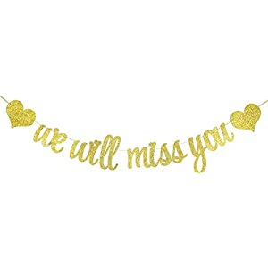 Festiko We Will Miss You Party Banner – Glitter Card in Gold for Home Decoration, Birthday/Anniversary/Engagement/Graduation
