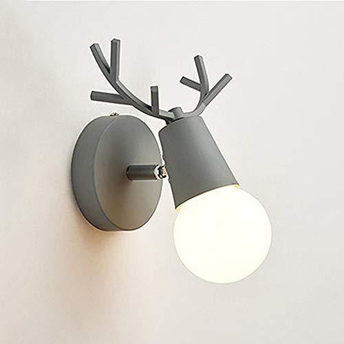 Lyghtzy Nordic Modernes Design Einstellbare Hirschgeweih Form Schmiedeeisen Wandleuchte Schlafzimmer Leselampe Wandmontage Kinderzimmer Wandleuchte E27 (Grau)