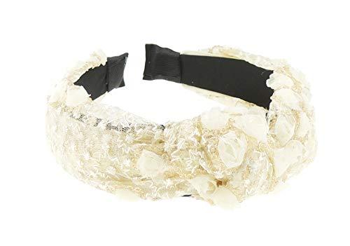 Dames Breed 4 cm Geborduurd Kant Chiffon Pailletten Rozen Top Knoop Hoofdband Alice Band Eén maat Cream Gold Lace