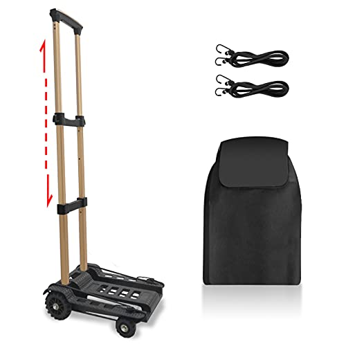 Folding Hand Truck, Dolly for Moving Foldable Hand Cart with 88 LBS Loading Capacity and 4 Heavy Duty Wheels Dolly Cart for Luggage, Personal, Travel, Moving and Office Use