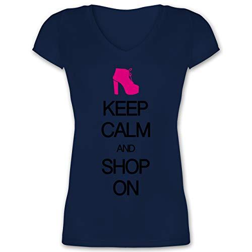 Keep Calm - Keep Calm and Shop on - XS - Dunkelblau - V-Neck - XO1525 - Damen T-Shirt mit V-Ausschnitt