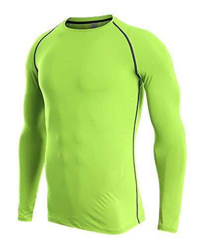Camiseta De Compresiòn Camiseta Térmica Interior Hombre Manga Larga para Running Fitness Entrenamiento Verde 3XL