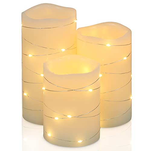 Flickering Flameless Candles Ivory Real Wax Pillar with Embedded String Lights H-BLOSSOM LED Candles Battery Operated with Cycling 5H Timer Set of 3 (3' x 4'/5'/6') (Ivory)