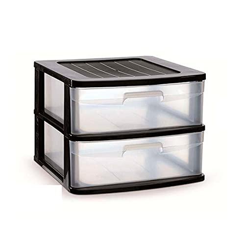 Acan Plastic Forte - Cajonera Sena 2 cajones, plástico Negro, 40 x 39 x 33,5 cm, Torre de almacenaje, cajones Transparentes, Organizador Auxiliar Multiusos, Almacenamiento, Dormitorio, baño, Oficina
